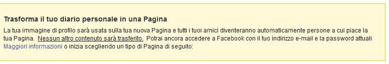 Trasformare profilo in pagina Facebook
