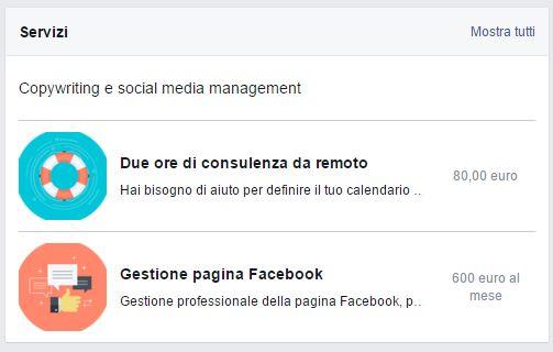 Finestra Servizi Facebook