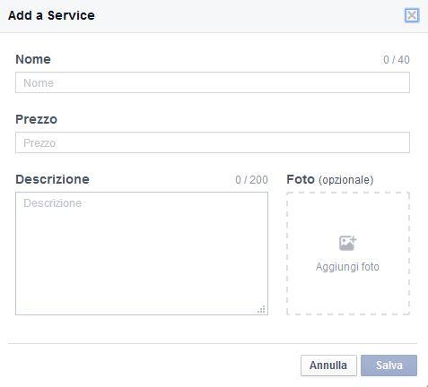 Inserire Servizi in pagina Facebook