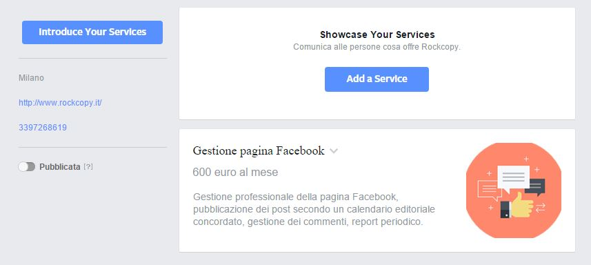 Servizio - pagina Facebook